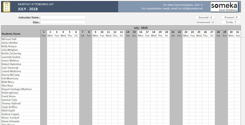Attendance List | Attendance Sheet Printable Excel Template Ready To Etsy
