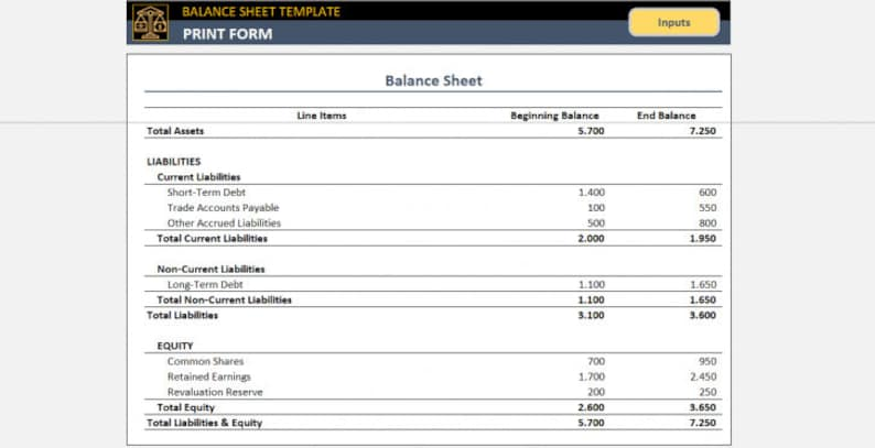Balance Sheet Template Small Business Tools Excel Template ...