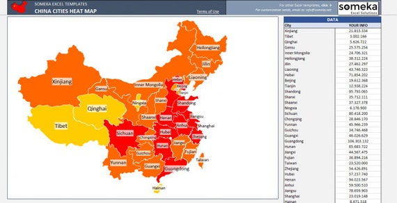 China Heat Map Excel Template - Automatic City / State Coloring on warrior map, axis map, scatter plot map, microsoft mind map, svg map, spotfire map, active directory map, united states county map, illustrator map, wordpress map, autocad map, explore map, microsoft training map, database map, topological map, waypoint map, six sigma process map, street atlas map, ics map, navigator map,