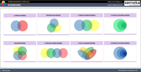 Venn Diagram Template Excel Template Etsy