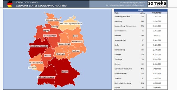 Germany Heat Map Excel Template - Automatic Province Coloring