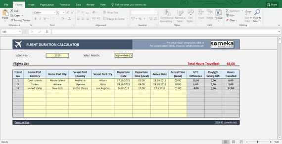 Flight Time Calculator Excel Template Duration Between World Etsy