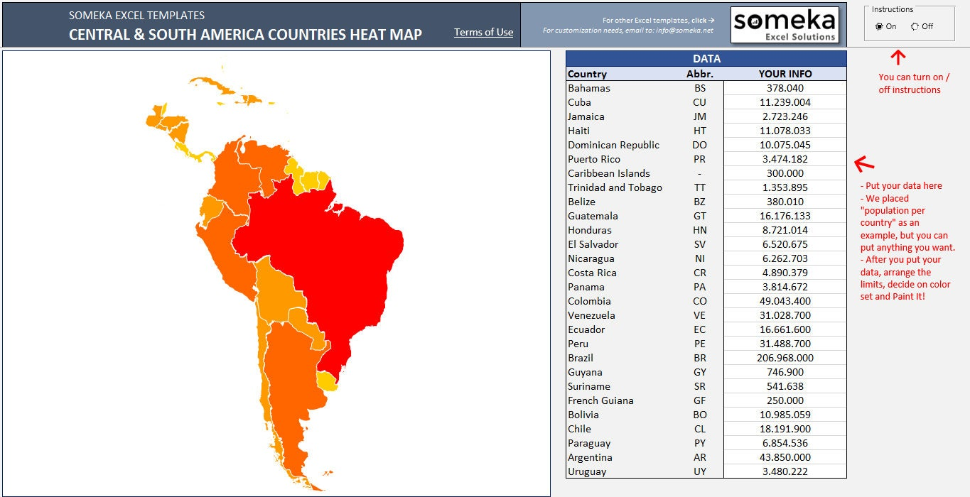 Central & South America Heat Map in Excel Automatic Country | Etsy