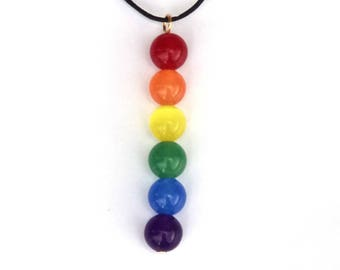 Rainbow necklace, Pride necklace, Queer jewelry, Gay, Lesbian, black cotton necklace, trans friendly, allies, rainbow jewelry, pride jewelry