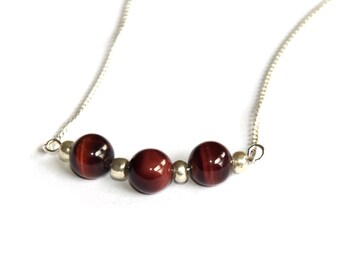 Red Tigers Eye bar necklace - gemstone necklace - gemstone jewelry - silver chain