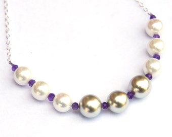 Shell pearl necklace, Pearl necklace, shell pearls, Amethyst necklace, gemstone necklace, wedding jewelry, gifts for her, gift for women