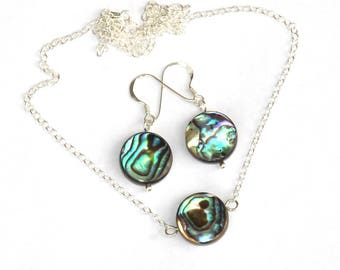 Abalone Jewelry, abalone earrings, abalone necklace, abalone shell, paua shell, mother of pearl, gifts for her, birthday gift, girlfriend
