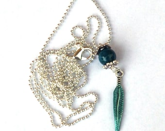 Leaf pendant, Apatite necklace, Gemstone necklace, long necklace, silver necklace, leaf jewelry, apatite jewelry, gifts for women