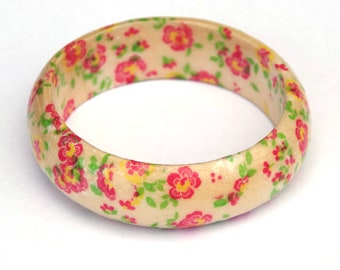 Decoupage bangle, Eco friendly, Flower bangle, eco jewelry, Floral jewelry, Pink bangle, pink jewelry, gifts for women, wooden bangle