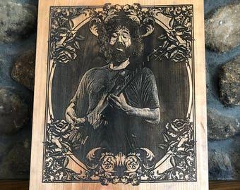 Jerry Garcia Wood Portrait(grateful dead, jerry garcia, steal your face, jerry garcia shirt, grateful dead shirt, grateful dead art