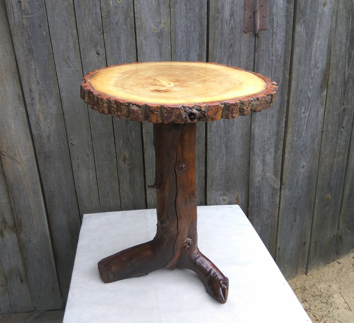 Small wood side table, rustic coffee table, solid wood table, rustic furniture, round farmhouse table, wood decor