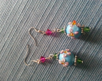 Summer floral dangle earrings