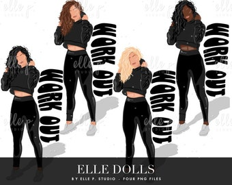 NEW Work Out Elle Dolls / Girl Clipart/ Girl Illustration/Planner Icon / Fashion Girl Clipart - 4 Elle Dolls Included!