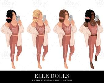 NEW Elle Dolls / Girl Clipart/ Girl Illustration/Planner Icon / Fashion Girl Clipart - 4 Elle Dolls Included!