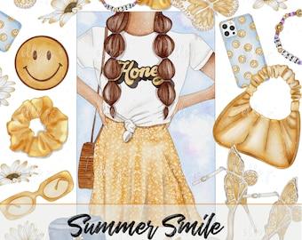Summer Smile Clipart Bundle /Planner Clipart / Bullet Journal Clipart / Printable stickers