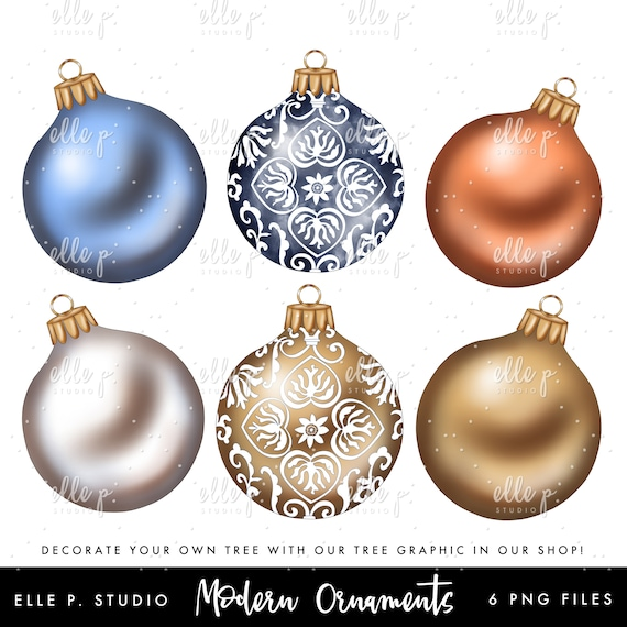 Modern Christmas Ornaments Bundle Holiday Clipart Bundle Christmas Clipart Holiday 2018