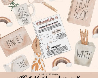 Back To School Fall Clipart Bundle /Planner Clipart / Bullet Journal Clipart / Printable stickers