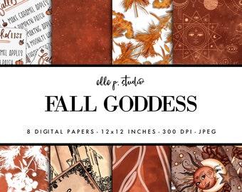 Fall Goddess Digital Paper Set / Digital Scrapbook Paper / Illustrated Paper / Fall Patterns / Wallpaper/Backdrop - Not Seamless