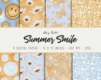 Summer Smile Digital Paper Set / Digital Scrapbook Paper / Illustrated Paper / Fall Patterns / Wallpaper/Backdrop - Not Seamless