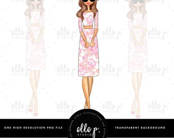 Meet me in Paris - Parisian Themed Elle Doll - Girl in Paris Illustration - Clipart - Parisian Clipart - Digital Clipart