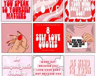 8 Self Love Quotes / Body Positivity Quotes / Digital Planner Box Stickers / Digital / Scrapbooking / Quotes / Typography
