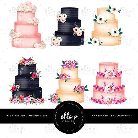 Rustikale Blumen Kuchen Clip Art Bundle Kuchen Clipart Set Etsy