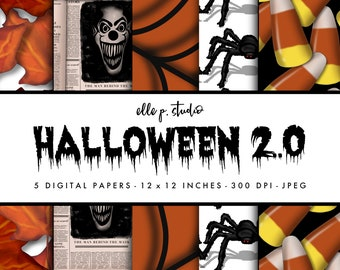 Halloween 2020 Digital Paper Set / Digital Scrapbook Paper/Clown Newspaper/Halloween Wallpaper/Halloween Backdrop - Not Seamless
