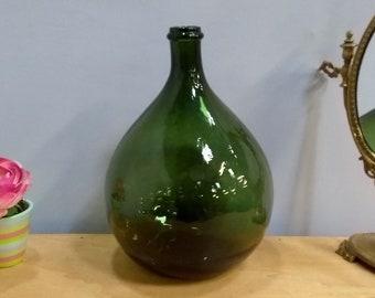 Dame jeanne 30 cm vert 5L demi John round green glass bottle French Antique  Garden decor country chic vase midcentury