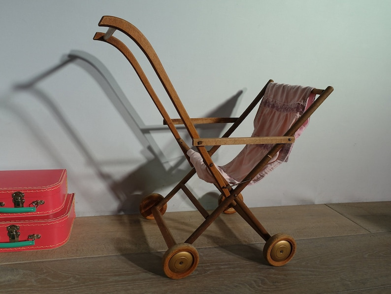 Antique Baby Carriage Stroller Wood Vintage Child S Toy France Old Vintage Wooden Baby Toy Pram Stroller French