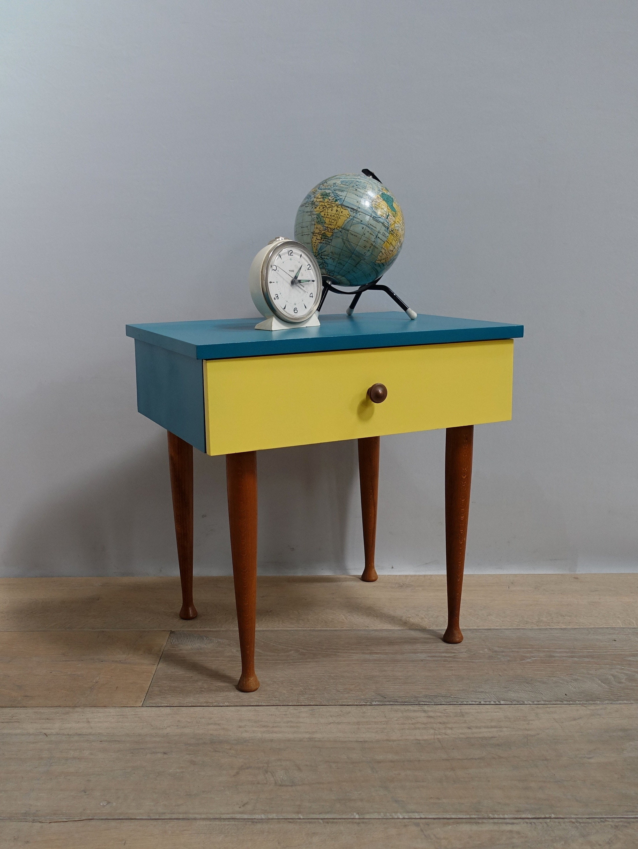 Retro Style Container Bedside Table: Small Bedside Table End Teal Saddle Vintage Sofa Side