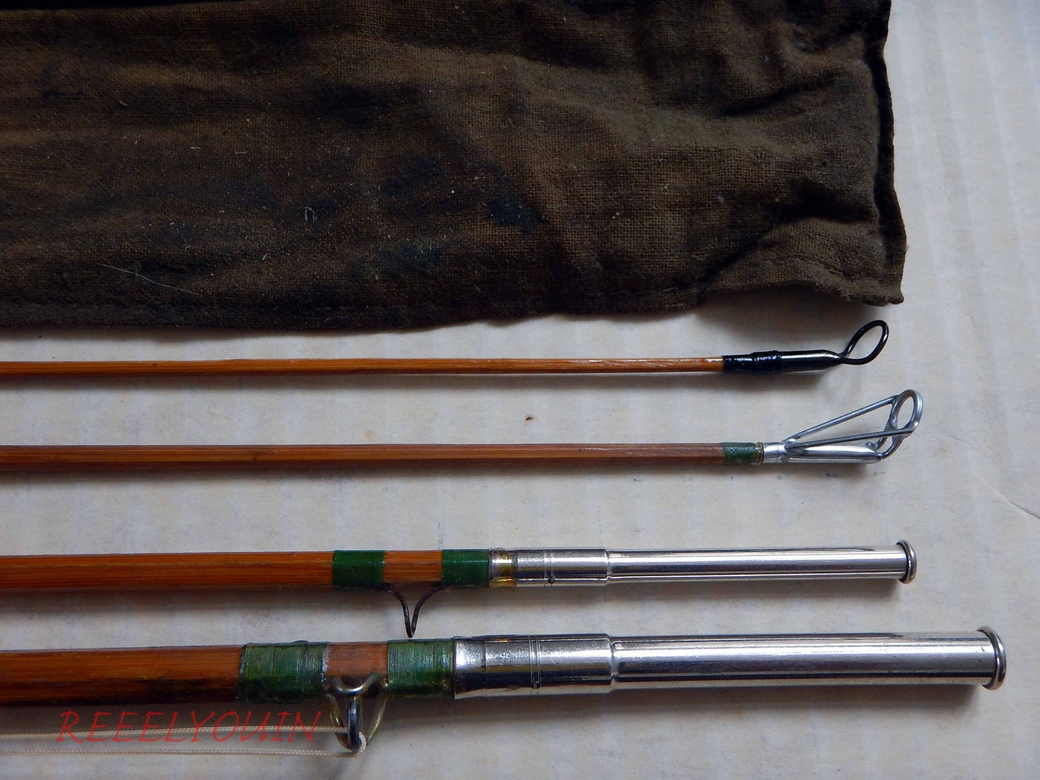 Vintage Bamboo Combo Spinning And Fly Rod With Raised