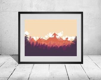 Orange 2D Minimalist Landscape Poster