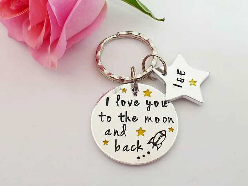 e13113a416 Couple Keyring Love You To The Moon and Back Keyring | Etsy