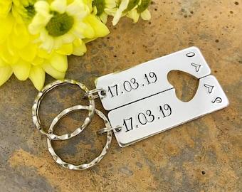 Couples Keyring Set, Special Date, Split Heart Keyring Set, Personalised Keyrings, Relationship, Wedding, Anniversary, Valentine's Gift