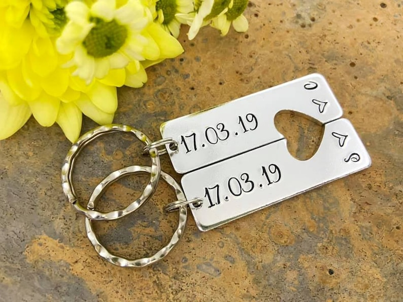 Couples Keyring Set Special Date Split Heart Keyring Set image 0