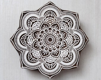Mandala wooden block printing stamp | Textiles, henna, fabric | ethnic design, hand carved and made in India