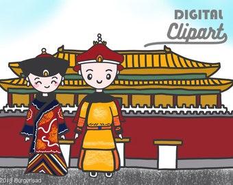 The forbidden city digital clipart/ planner clip art/ hand drawn art work/ chinese emperor empress/ kind queen/ asian/ china/ beijing