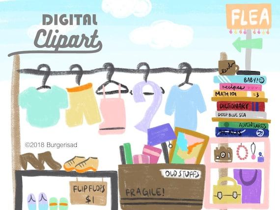 Flea Market Chalk Digital Clipart Png Garage Sale Second Etsy