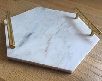 Handmade Grey Marble Tray, Candle Tray, Cheeseboard, Hexagon, Decorative