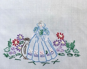 Hand embroidered tray cloth. Elizabethan lady in garden. Vintage table linen.