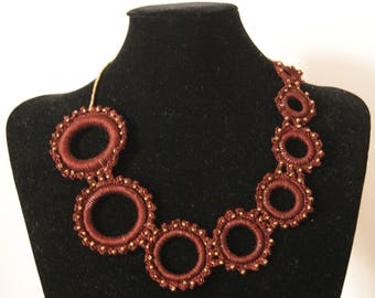 Crochet necklace, with Brown cotton yarn, embellished with beads