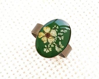Bronze Ring for Women, Pressed Flowers Bronze Ring, Women Green Ring, Unique Bronze Ring, Birthday Gift, Gift for Her,Christmas gift