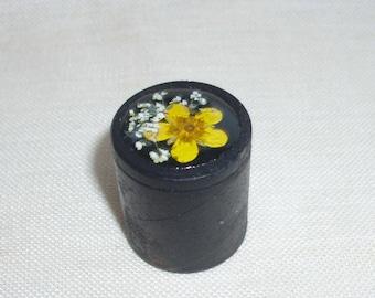 Pressed yellow flower wood ring box, Engagement ring box, Wedding ring box, Unique ring box, Jewelry ring box