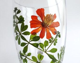 Glass Mug, Pressed Flowers Mug, Coffee Mug, Glass Coffee Mug,Tea Mug,Unique Gift, Handmade gift,Real Flowers Mug,Botanical Mug,Gift for mom.