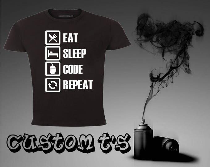Eat, Sleep, Code, Repeat coding t shirt