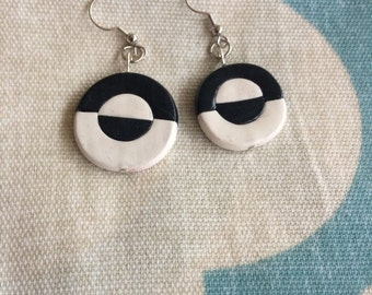 Clay black and white earrings