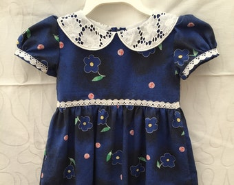 Toddlers party dress, girls birthday dress size 4, dress with Peter Pan collar