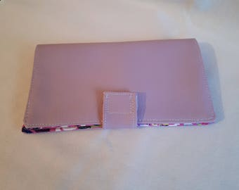 Fabric checkbook and faux purple leather