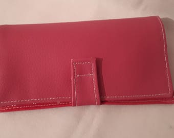 Fabric checkbook and pink faux leather