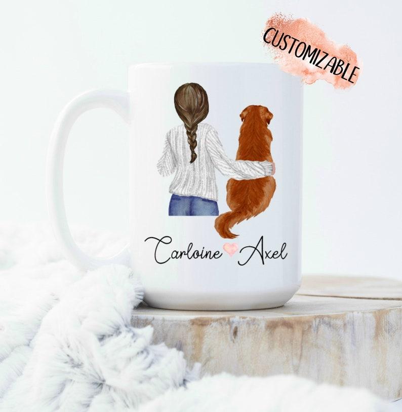 Gifts for Golden Retriever Owners - Golden Retriever Mom white ceramic coffee mug.